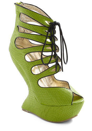 Sea and Believe Wedge - Wedge, Green, Black, Statement, Girls Night Out, Urban