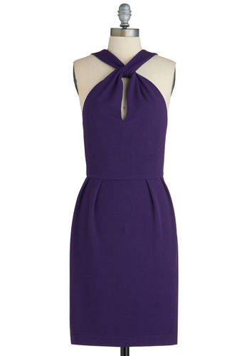 Plum On Up Dress - Mid-length, Purple, Solid, Party, Shift, Cutout, Halter, Cocktail, Bodycon / Bandage, Tis the Season Sale