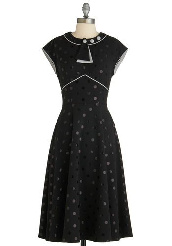 Every Dot of You Dress by Stop Staring! - Long, Black, White, Polka Dots, Buttons, Work, Vintage Inspired, 50s, Short Sleeves, Fit & Flare, Crew, Pinup, Cocktail, Better, Exclusives