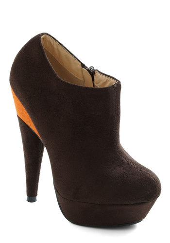 Slice Knowing You Bootie - Brown, Orange, Fall, Party, Urban, Girls Night Out, Colorblocking, Faux Leather, Platform, High