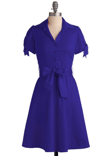 Cobalt of Inspiration Dress - Blue, Solid, Pleats, Casual, Shirt Dress, Short Sleeves, Long, Belted, Cotton, Button Down, Collared, Fit & Flare