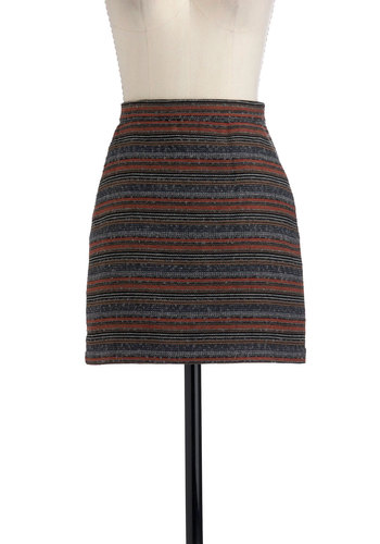 Swell Traveled Skirt by Jack by BB Dakota - Short, Multi, Red, Brown, Grey, Pockets, Fall