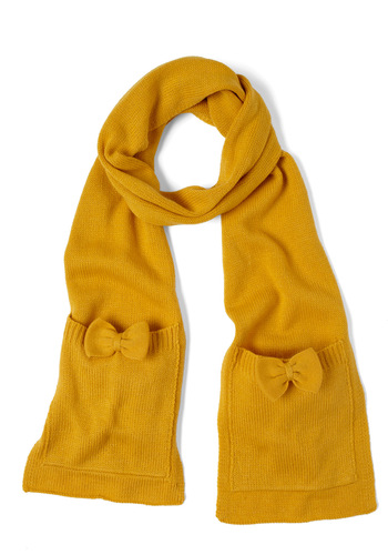 One Accessory Wonder Scarf in Gold by Tulle Clothing - Yellow, Solid, Bows, Pockets, Casual, Winter