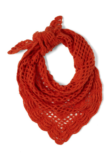 Snuggled by the Fireplace Scarf by Tulle Clothing - Orange, Solid, Knitted, Casual, Vintage Inspired