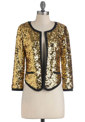 Go for Brooklyn Jacket - Gold, Black, Sequins, Party, Long Sleeve, Luxe, Statement, 1, Short