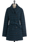 Waterway to Go Coat by Jack by BB Dakota - Blue, Black, Buttons, Pockets, Long Sleeve, Belted, Herringbone, Fall, Casual, Rustic, Long, 3