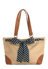 Shore Are on Top of Things Bag - Brown, Tan / Cream, Black, White, Polka Dots, Bows, Casual, Work, Nautical