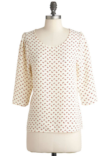 Think Sprig Top - White, Black, Floral, Casual, 3/4 Sleeve, Mid-length, Red