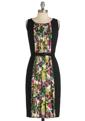 Rooftop Garden Dress by Eva Franco - Long, Black, Multi, Floral, Pleats, Party, Shift, Sleeveless, Belted, Tis the Season Sale