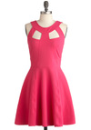 Pop Culture Queen Dress - Pink, Solid, Cutout, Party, A-line, Sleeveless, Summer, Mid-length, Fit & Flare, Tis the Season Sale