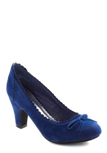 Surprise Celebration Heel in Cobalt - Blue, Solid, Bows, Scallops, Mid, Work, Vintage Inspired, 50s