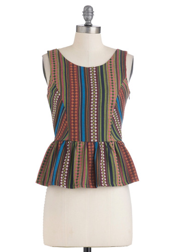 Agricultural District Top - Multi, Print, Boho, Tank top (2 thick straps), Peplum, Short, Casual