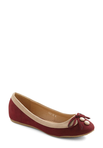 Collar Me Maybe Flats in Red Remix - Red, Tan / Cream, Bows, Buttons, Casual, Fall, Faux Leather, Flat