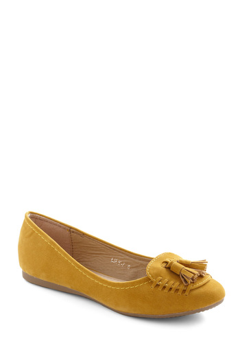 Tread Politely Flats - Yellow, Solid, Tassles, Casual, Menswear Inspired, Fall, Flat, Faux Leather