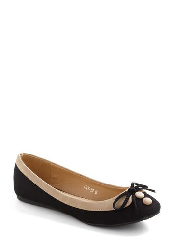 Collar Me Maybe Flats in Coal Cover - Black, Tan / Cream, Bows, Casual, Film Noir, Buttons, Faux Leather, Flat