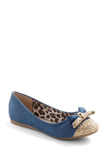 Twinkle Bows Flat - Blue, Gold, Bows, Sequins, Casual, Flat, Faux Leather