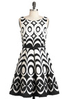 At Every Pattern Dress in Black Waves - Black, White, Print, Pleats, Party, Sleeveless, Fit & Flare, Mid-length, Cocktail, Cotton, Boat
