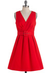 Always On Your Mind Dress by BB Dakota - Mid-length, Red, Solid, Buckles, Work, Vintage Inspired, A-line, Sleeveless