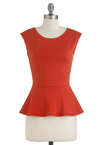 Pretty in Peplum Top - Red, Solid, Cap Sleeves, Peplum, Mid-length, Casual, Vintage Inspired, Fall