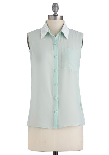 Longing for Flurries Top - Bronze, Pockets, Sequins, Sleeveless, Mid-length, Solid, Blue, Pastel, Glitter, Sheer, Mint, Button Down, Collared
