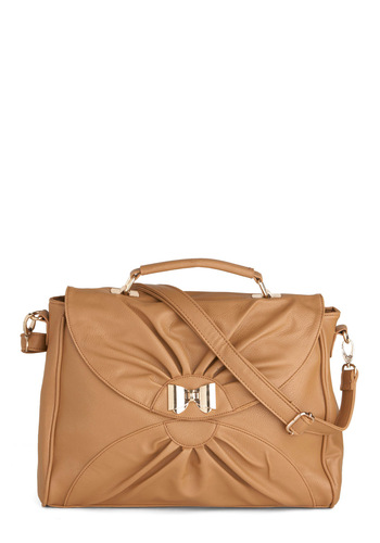 Bow So Basic Bag - Tan, Solid, Bows, Pleats, Casual, Work, Scholastic/Collegiate, Faux Leather
