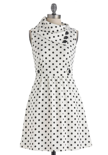 Coach Tour Dress in Dots - Short, Polka Dots, Buttons, Pockets, Party, Casual, Vintage Inspired, Sleeveless, Cowl, Work
