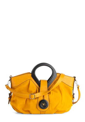 Therefore I Amber Handbag by Melie Bianco - Yellow, Black, Buttons, Urban