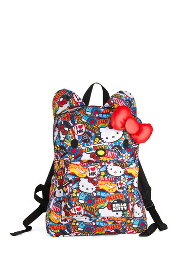 Paws for Collage Backpack by Loungefly - Multi, Novelty Print, Bows, Pockets, Casual, Kawaii, Quirky