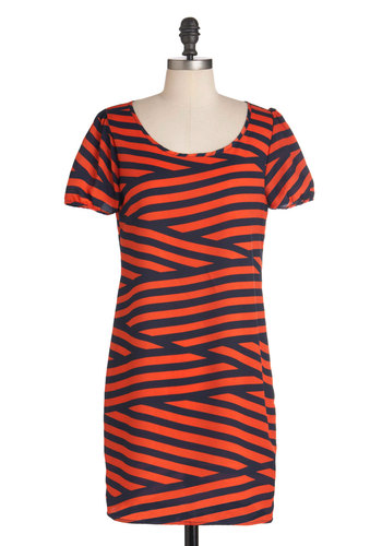 Sand Story Dress - Mid-length, Orange, Blue, Stripes, Short Sleeves, Casual, Sheath / Shift