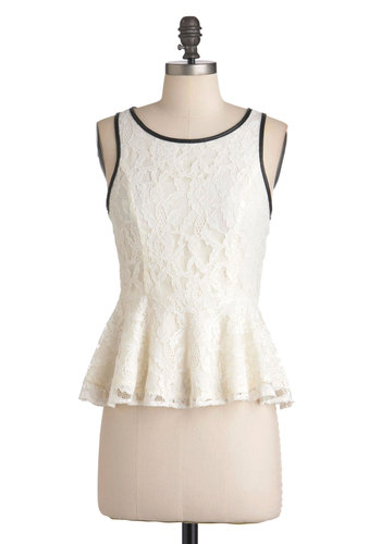 The Edge of Girly Top - Mid-length, Cream, Black, Lace, Sleeveless, Peplum, Party, Vintage Inspired, French / Victorian