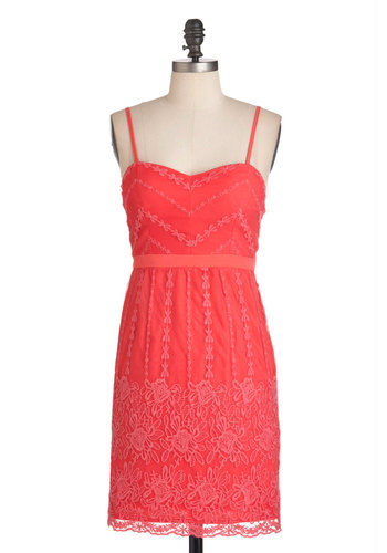 Coral Arrangements Dress - Solid, Embroidery, Lace, Party, Strapless, Spaghetti Straps, Cocktail, French / Victorian, Pink, Coral, Long, Sweetheart