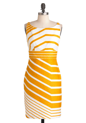 Sweet as Honeycomb Dress - White, Yellow, Stripes, Work, Sheath / Shift, Sleeveless, Spring, Mid-length, 60s
