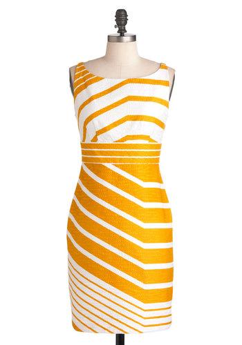 Sweet as Honeycomb Dress - White, Yellow, Stripes, Work, Sheath / Shift, Sleeveless, Spring, Mid-length, 60s