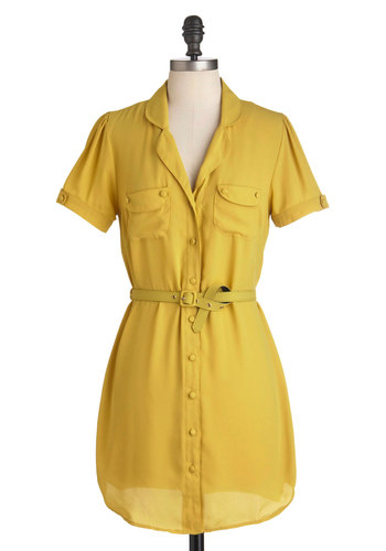 Golden Grasslands Dress - Yellow, Solid, Buttons, Pockets, Casual, Shirt Dress, Short Sleeves, Short, Belted, Menswear Inspired, Sheer, Button Down, Collared