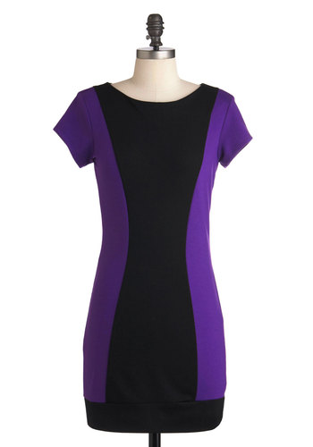 Larkspur of the Moment Dress - Purple, Black, Exposed zipper, Casual, 60s, Sheath / Shift, Cap Sleeves, Fall, Short, Girls Night Out, Bodycon / Bandage