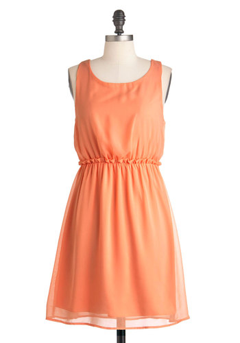 Peach Tea Dress - Mid-length, Orange, Solid, Party, A-line, Sleeveless, Summer, Pastel, Sheer