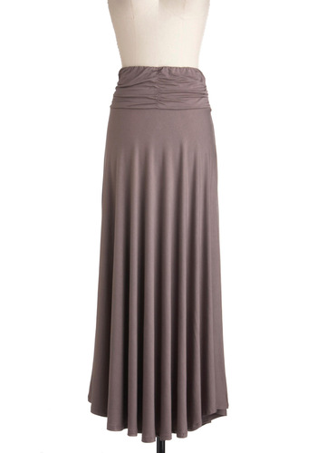 Cute for Certain Skirt in Warm Mocha - Solid, Casual, Maxi, Tan, Long