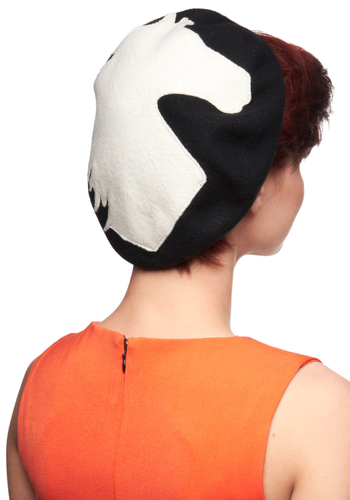 Filly to the Brim Hat - Black, White, Casual, Film Noir, Print with Animals, French / Victorian