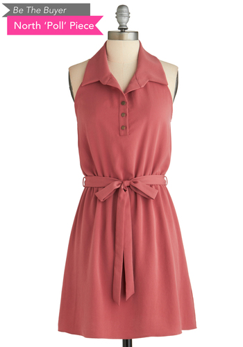 Sample 1985 - Pink, Solid, Buttons, Casual, Shirt Dress, Halter, Belted