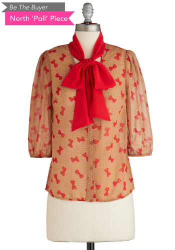 Sample 1994 - Tan, Red, Polka Dots, Buttons, Casual, Tie Neck