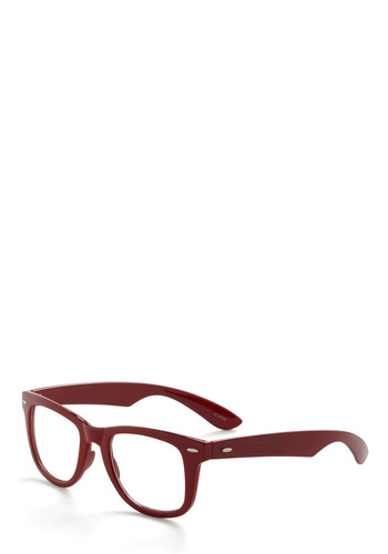 Merlot Profile Glasses - Red, Black, Solid, Casual, Vintage Inspired, Scholastic/Collegiate