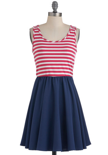 Grad Party Dress in Pink - Multi, Blue, Pink, White, Stripes, Casual, Tank top (2 thick straps), Summer, Mid-length, Twofer, Tis the Season Sale