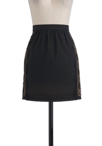 More or Lace Skirt - Short, Black, Lace, Pleats, Tan / Cream, Party, Vintage Inspired