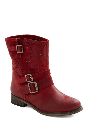 Last Embers Boot - Red, Solid, Buckles, Casual, Rustic, Leather, Low