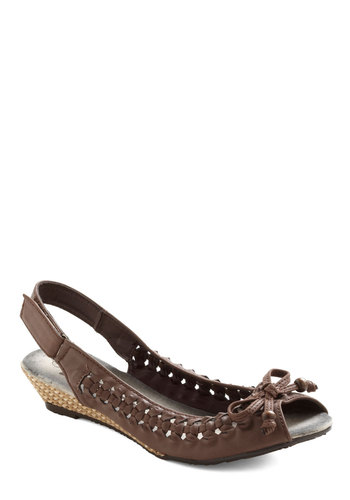The Woven One Wedge - Brown, Bows, Woven, Low, Wedge, Slingback, Casual, Beach/Resort