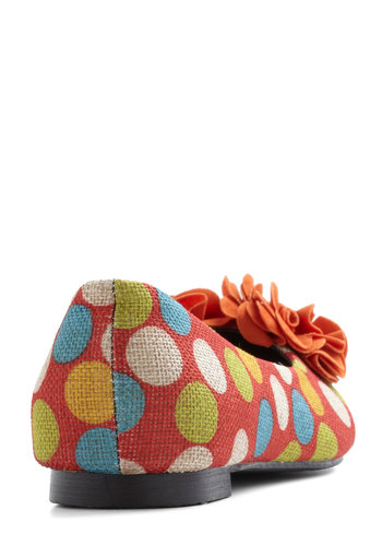 Cake Pop Party Flat in Orange - Orange, Multi, Polka Dots, Flower, Flat