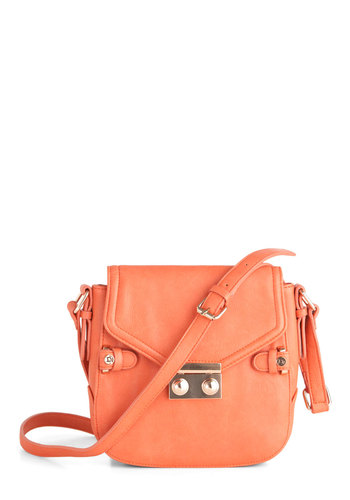Step Tour Shoulder Bag - Orange, Solid, Casual, Faux Leather, Coral