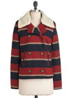 From the Hilltop Jacket by Jack by BB Dakota - Mid-length, Multi, Red, Blue, Tan / Cream, Stripes, Buttons, Pockets, Long Sleeve, Casual, Fall, Rustic, 2