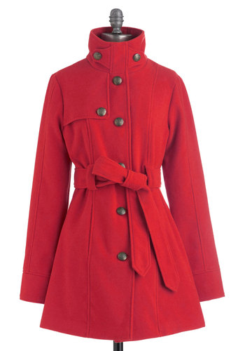 South Bank Stroll Coat in Red by Jack by BB Dakota - Red, Solid, Buttons, Pockets, Long Sleeve, Belted, Long, 3