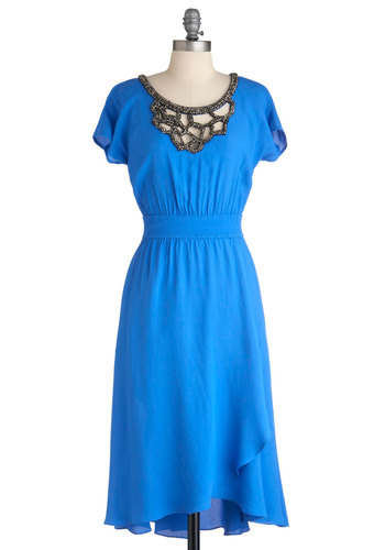 Plenty by Tracy Reese Everyday Royalty Dress by Plenty by Tracy Reese - Long, Blue, Black, Grey, Solid, Cutout, Party, Vintage Inspired, A-line, Short Sleeves